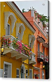 Pretty Dwellings In Old-town Cartagena Acrylic Print by Kirsten Giving