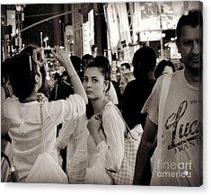 Pretty Girl In The Crowd - Times Square - New York Acrylic Print by Miriam Danar