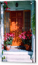 Pretty House Door In Key West Acrylic Print by Susanne Van Hulst