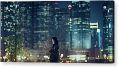 Pretty Office Lady Is Using Tablet In Acrylic Print by D3sign