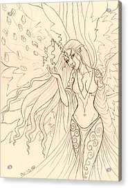 Pretty Pegasus Sketch Acrylic Print by Coriander  Shea