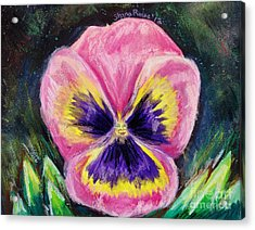 Pretty Pink Pansy Person Acrylic Print by Shana Rowe Jackson