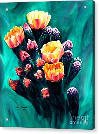 Acrylic Print featuring the painting Prickly Pear Cactus Painting by Judy Filarecki