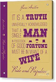 Pride And Prejudice Book Cover Poster Art 2 Acrylic Print by Nishanth Gopinathan
