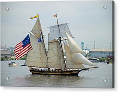 Pride Of Baltimore II Passing By Fort Mchenry Acrylic Print