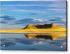 Priest Butte Reflects Into Wetlands Acrylic Print by Chuck Haney