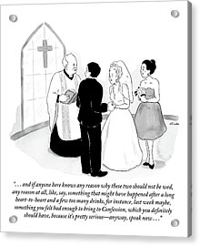 Priest Marries Man And Woman In Front Of A Large Acrylic Print