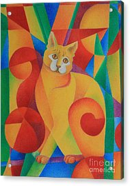 Acrylic Print featuring the painting Primary Cat II by Pamela Clements