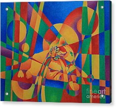 Acrylic Print featuring the painting Primary Cat IIi by Pamela Clements
