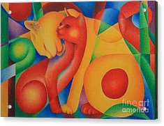 Acrylic Print featuring the painting Primary Cats by Pamela Clements