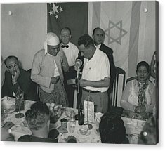 Prime Minster Of Burma On Visit To Israel. Receives A Acrylic Print by Retro Images Archive
