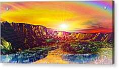 Rainbow Dawn Over Primeval Tide  Life Begins V3 Acrylic Print by Rebecca Phillips