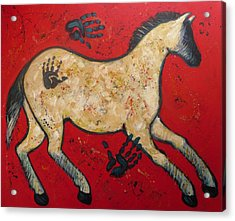 Primitive Modern Cave Art Horse Acrylic Print by Carol Suzanne Niebuhr