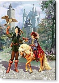 Prince And Falconer Acrylic Print by Zorina Baldescu