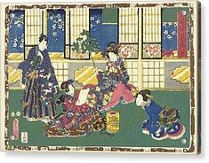 Prince Genji, An Elegantly Dressed Woman And A Maid Acrylic Print by Kunisada (i) And Utagawa And Kinugasa Fusajiro And Murata Heiemon