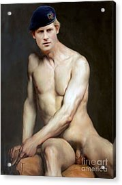 Prince Harry  Seated Nude Acrylic Print by Karine Percheron-Daniels