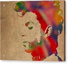 Prince Watercolor Portrait On Worn Distressed Canvas Acrylic Print by Design Turnpike