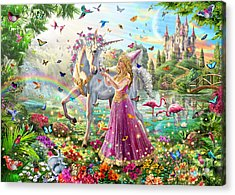 Princess And The Unicorn Acrylic Print by Adrian Chesterman