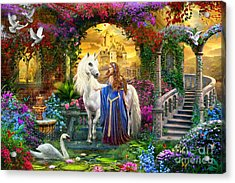 Princess And Unicorn In The Cloisters Acrylic Print by Jan Patrik Krasny