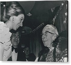 Princess Anne Meets Agatha Christie At Premiere Of Film Acrylic Print by Retro Images Archive