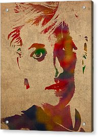 Princess Diana Watercolor Portrait On Worn Distressed Canvas Acrylic Print by Design Turnpike