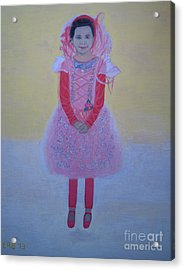 Princess Needs Pink New Hair Acrylic Print by Elizabeth Stedman