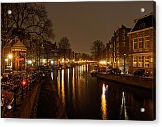 Prinsengracht Canal After Dark Acrylic Print by Jonah  Anderson