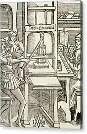 Printing Press Of 1498, From A Book Printed In That Year Engraving Acrylic Print