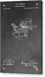 Printing Press Patent Drawing Acrylic Print by Dan Sproul