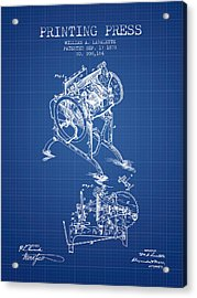 Printing Press Patent From 1878 - Blueprint Acrylic Print by Aged Pixel