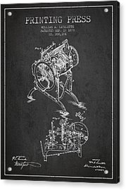 Printing Press Patent From 1878 - Dark Acrylic Print by Aged Pixel