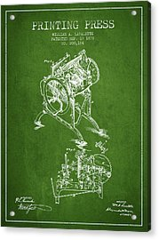 Printing Press Patent From 1878 - Green Acrylic Print by Aged Pixel
