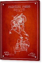 Printing Press Patent From 1878 - Red Acrylic Print by Aged Pixel