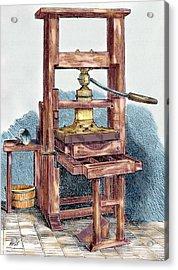 Printing Press Used By Benjamin Acrylic Print