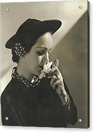 Priscilla Lawson Wearing A Lilly Dache Hat Acrylic Print