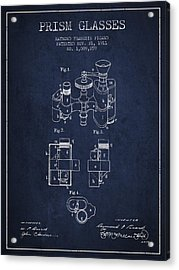 Prism Glasses Patent From 1911 - Navy Blue Acrylic Print by Aged Pixel