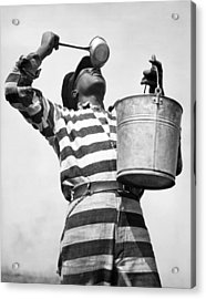 Prisoner Quenches His Thirst Acrylic Print by Underwood Archives
