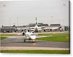 Private Jet At Manchester Airport Acrylic Print by Ashley Cooper
