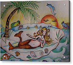 Acrylic Print featuring the drawing Private Paradise by Leslie Manley