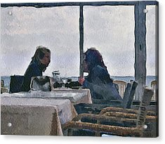 Private Talk At Lunch Acrylic Print