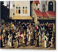 Procession Of The Holy League In 1590 Oil On Panel Acrylic Print by Francois Bunel