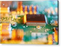 Processor Chip On Circuit Board Acrylic Print by Konstantin Sutyagin