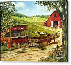 Acrylic Print featuring the painting Produce Stand by Lee Piper