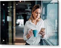 Professional Businesswoman Texting Acrylic Print by Filadendron