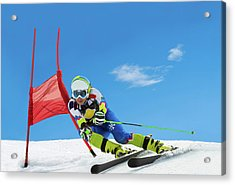Professional Female Ski Competitor At Acrylic Print