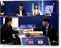 Professional 'go' Player Lee Se-dol Plays Google's Alphago - Last Day Acrylic Print by Handout