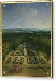 Promenade Of Louis Xiv 1638-1715 In The Gardens Of The Grand Trianon, 1713 Oil On Canvas Acrylic Print
