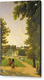 Promenade Of Napoleon I 1769-1821 And Marie-louise 1791-1847 In The Parc De Saint-cloud In 1810 Oil Acrylic Print by Jean Bidauld
