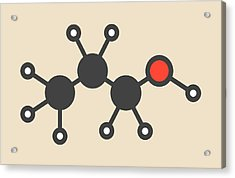 Propanol Solvent Molecule Acrylic Print by Molekuul