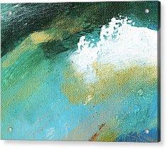 Propel Aqua Blue Gold Acrylic Print by L J Smith